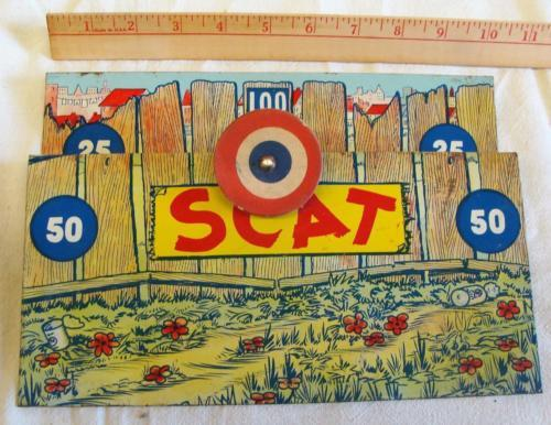 Vintage Tin Litho Scat the Jumping Cat Shooting Target Game for Parts or Display