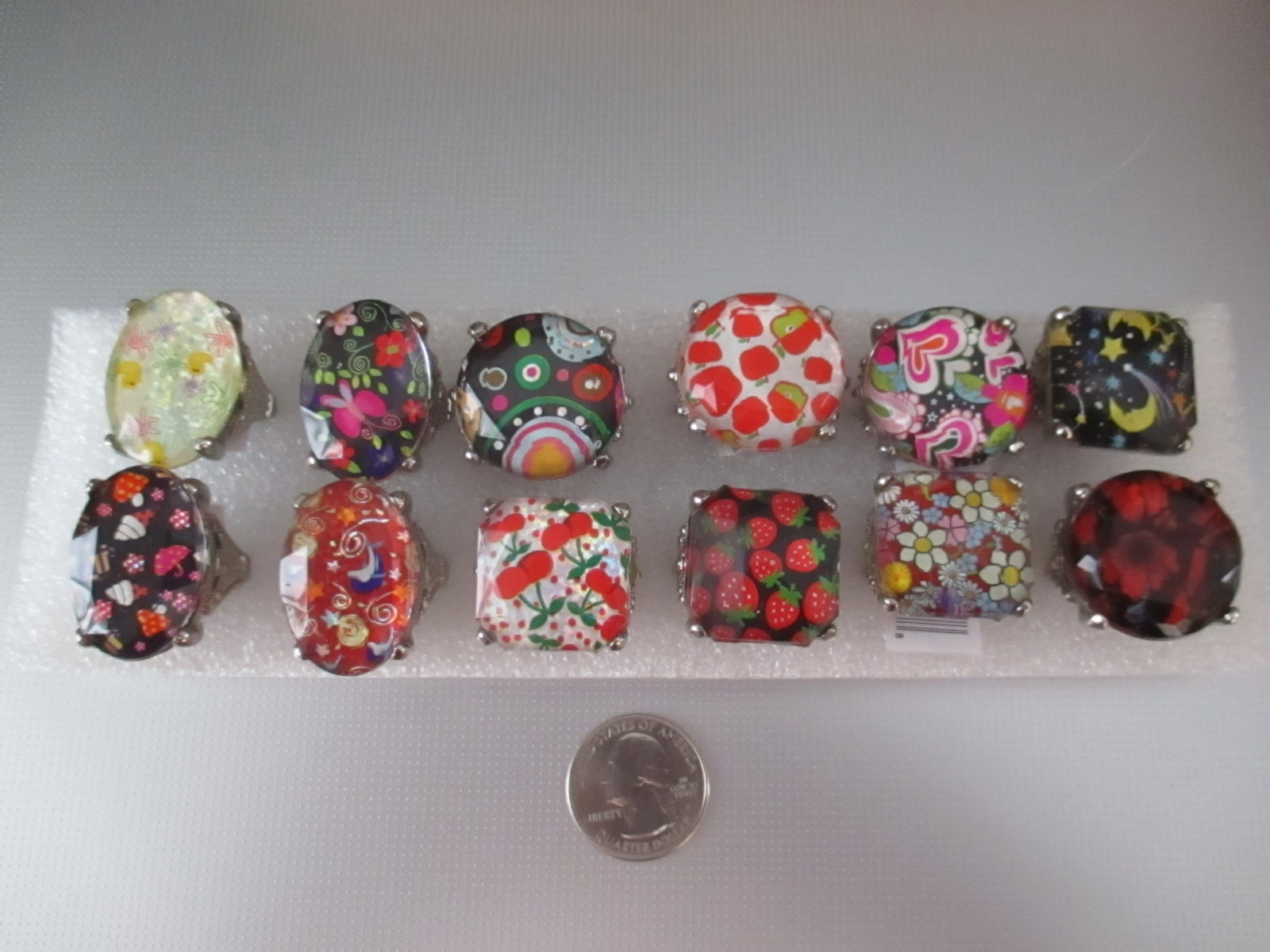 Lot of 12 Fun Adjustable Bling Rings NWT