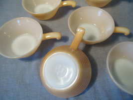 Fire-King Vintage Set of 6 Oven Ware Beehive Bowls w Handle Peach Lustre USA - $44.50