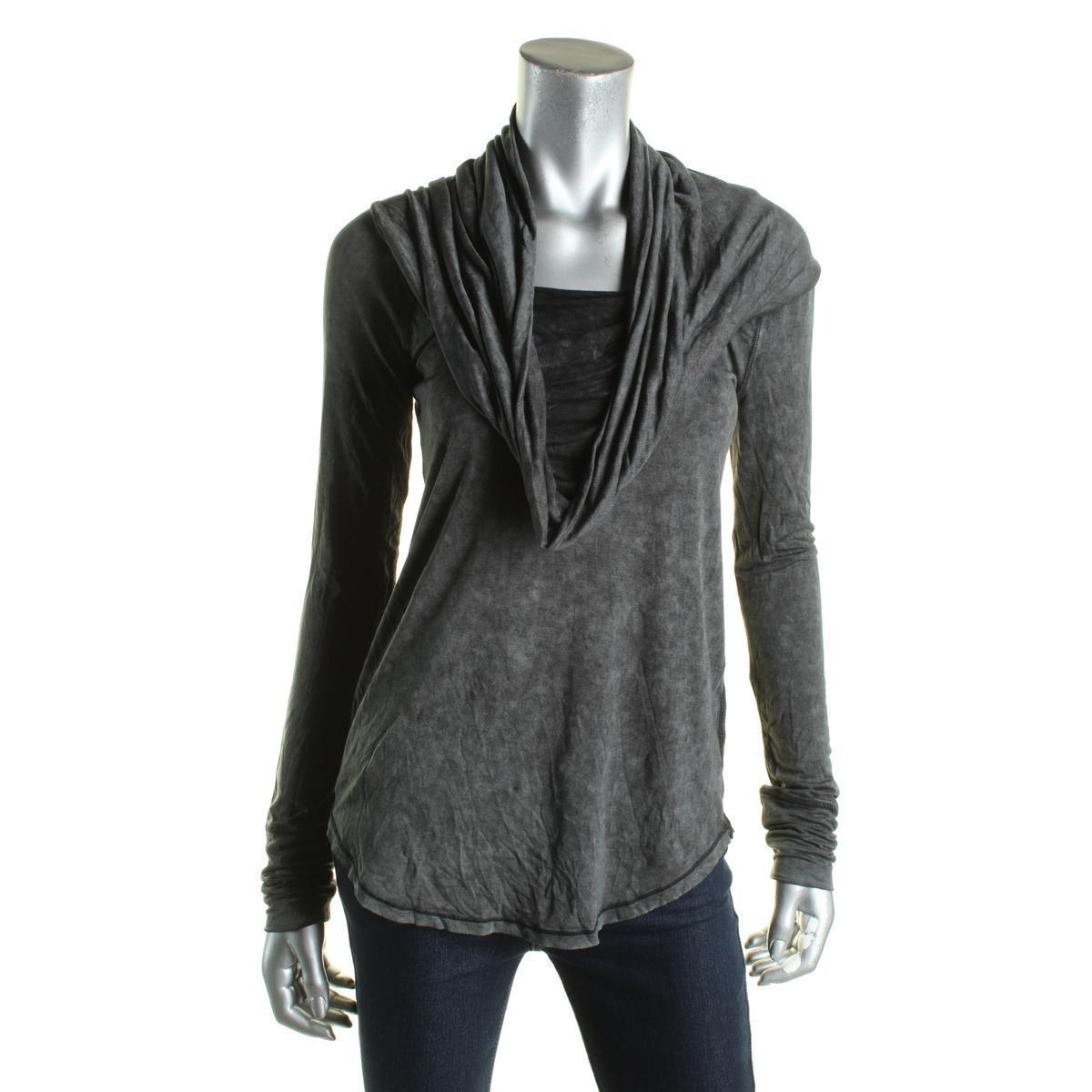 Free People Womens BLACK/GRAY Cowl Neck Long Sleeve Knit Casual Top Shirt Small
