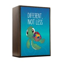 Inspired Home Different Not Less - Autism Awareness Turtle Box Sign Size... - $14.70