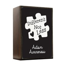 Inspired Home Different Not Less - Black Autism Awareness Puzzle Piece Box Si... - $14.70