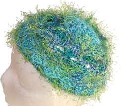 Blue Crochet Beanie Hat with Green Eyelash Fringe - $11.80