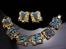 Dragon Bracelet - earrings set - VINTAGE demi parure - turquoise ENAMEL - mediev - $450.00