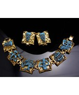 Dragon Bracelet - earrings set - VINTAGE demi parure - turquoise ENAMEL ... - $450.00