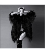 Long Shaggy Hair Black Angora Sheep Faux Fur Medium Length Coat Jacket - $138.95