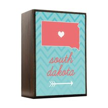 Inspired Home South Dakota State Chevron Pattern Box Sign Size 4x5.5 - $14.70