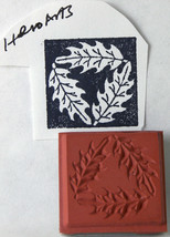 Triangle of Oak Leaves in a Square Hero Arts Unmounted Rubber Stamp .75 inches - $3.89
