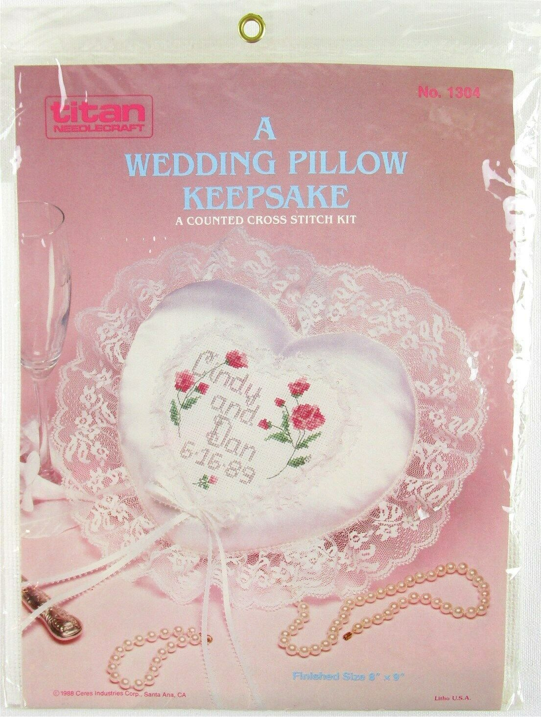Primary image for NOS Titan Needlecraft A Wedding Pillow Keepsake Counted Cross Stitch Kit, #1304