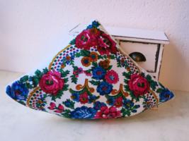 Folk Pizza Pillow - Folk Decorative Cushion - handcrafted rustic ornament  - $19.00