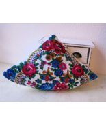 Folk Pizza Pillow - Folk Decorative Cushion - handcrafted rustic ornament  - $19.00