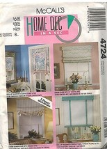 4724 UNCUT McCalls Sewing Pattern Home Decor Window Treatment Roman Shad... - $6.92