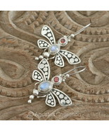 Hook EARRINGS Sterling Silver, Genuine Moonstone & Garnet 8.42 g ~ Handmade - $44.62