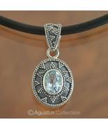 Pendant Genuine Natural Blue Topaz & Sterling S... - $51.99