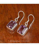 Hook EARRINGS Sterling SILVER & Genuine Amethyst 4.95 g ~ Handmade in Bali - $45.78
