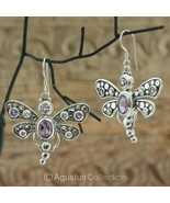 Hook EARRINGS Sterling Silver & Genuine Amethyst 12.90 g ~ Handmade - $44.23