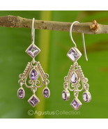 Hook EARRINGS Genuine Amethyst Sterling SILVER ... - $44.62
