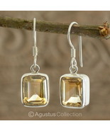 Hook EARRINGS Sterling SILVER & Genuine Citrine 4.86 g ~ Handmade in Bali - $45.78