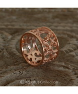RING Genuine 18K Rose Gold over Sterling SILVER 4.90 g US size 6.5 ~ Han... - $38.76