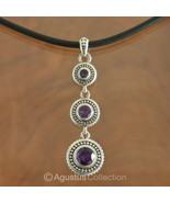 Pendant Genuine Purple Amethyst & Sterling SILVER 8.45 g ~ Handmade in Bali - $42.68