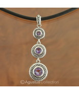 Pendant Genuine Purple Amethyst & Sterling SILV... - $42.68