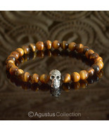 Stretch Bracelet Genuine 925 Sterling SILVER Skull Tiger-Eye 14.00 g ~ S... - $38.76