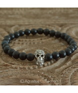 Stretch Bracelet Genuine 925 Sterling SILVER Skull ONYX 13.00 g ~ Size 6... - $38.76