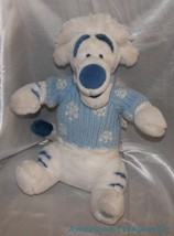 "NEW Disney Store Plush 15"" Winter White Tigger Cobalt Stripes Sweater Sa... - $33.72"