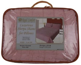 Set 2 Pink Sherpa Pillow Shams Luxurious Regal ... - $21.49
