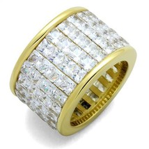 16MM GOLD TONE STAINLESS STEEL PRINCESS CUT CZ WEDDING BAND FASHION RING... - $41.49