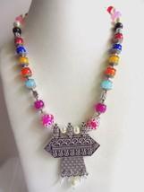 Indian Designer Oxidized Pendant Pearls Necklace Women's Ethnic Fashion Jewelry image 2