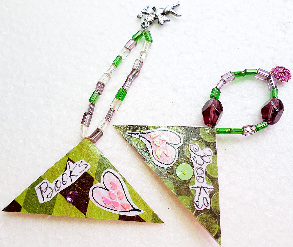 Corner Bookmarks, Triangle Page Keepers, Abstract Hearts Cupid Charm Page Marker