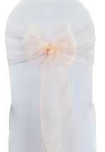 25 PCS Light Peach Organza Chair Sash - $25.00
