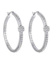 Swarovski® Crystal Flower Hoop Earrings Silver - $18.70