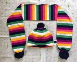 EUC Baby GAP 2pc SET Pro Fleece Multi Stripe Hat M/L 4-5 years & Scarf G... - $10.88
