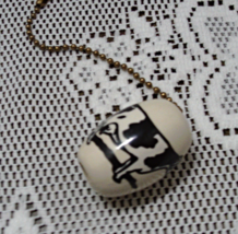 Vintage Ceramic Black and White Cow Holstein Cow Light/Ceiling Fan Pull ... - $9.75