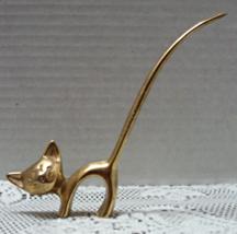 Vintage Mid Century Long Tail Cat With Rhinestone Eyes Ring Holder // Ri... - $11.25