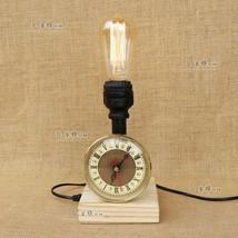 Loft Iron Wood Desk Table Lamp Clock E27 Light Industrial Home Lighting Fixture - $66.56