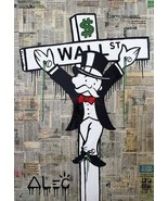 "Alec Monopoly Oil print on Canvas Urban art Wall Decor Crucified 20x30"" ... - $34.65"