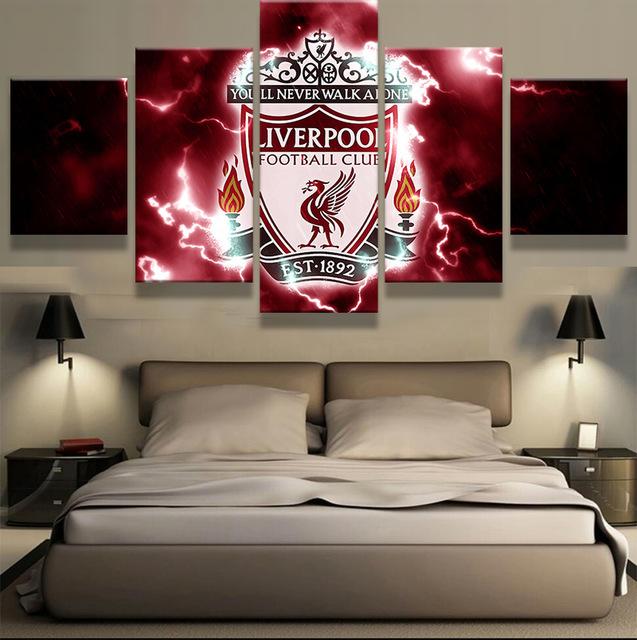 exciting football theme bedroom lfc room idea   5 Pcs HD Printed Liverpool Football Club Sport Team ...