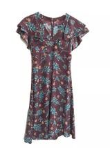 Vtg Betsey Johnson New York Silk Dress 4 floral maroon ruffle 90s - $50.45