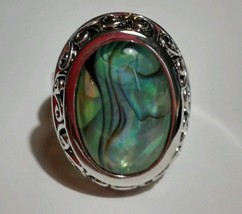 Oval Abalone Fashion Jewelry Adjustable Ring - $11.83