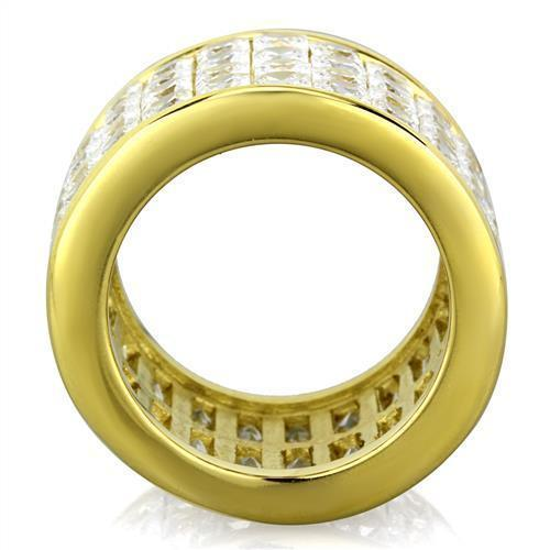 16MM GOLD TONE STAINLESS STEEL PRINCESS CUT CZ WEDDING BAND FASHION RING SIZE 6