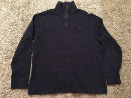Men's Polo By Ralph Lauren 1/4 Zip Blue Cotton Pullover Size Large - $24.99