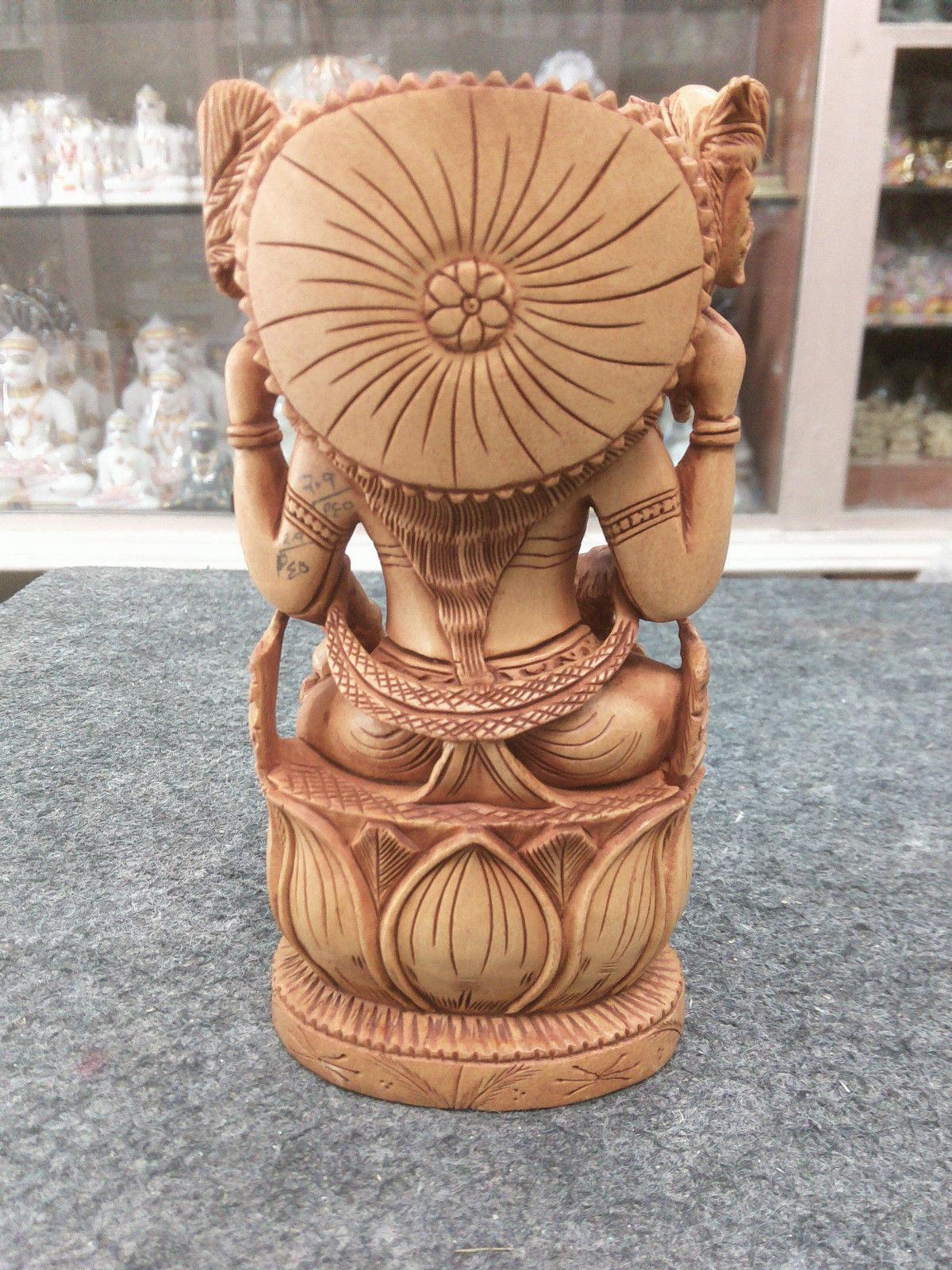 "6"" Rare Hindu Goddess Sarasvati Statue wooden Maa Mata Saraswati Free Shippng $"