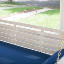 """White Coastal Cottage Wood 65"""" Porch Swing With Blue Cushions Outdoor Furniture image 3"""