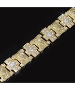 Mens Gold Finish Lab Diamond Cross & Jesus Full... - $188.09