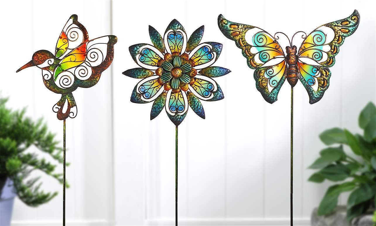 "Set of 3 - 32"" Stunning Garden Stakes Metal & Glass Hummingbird, Butterfly NEW"