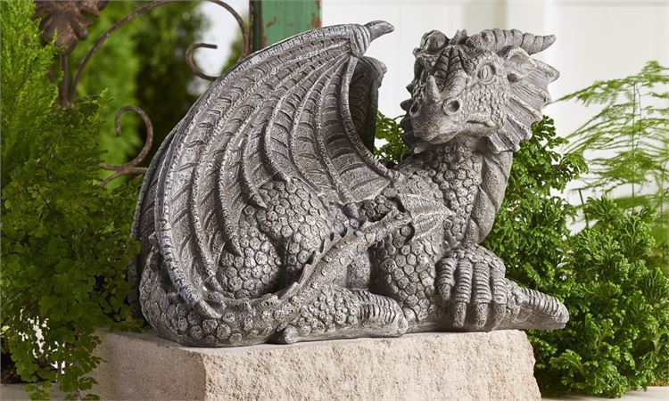 "13.2"" Medieval Dragon Design Statue w Stone Finish Textural Detailing Polyresin"