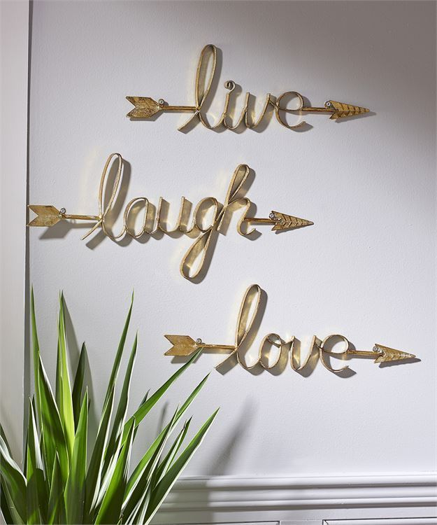 Set of 3 - Live Love Laugh Sculpted Iron Sentiment Wall Decor w Arrow Detailing